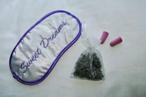 sleep mask, ear plugs, and lavender sachet