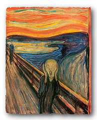 Edvard Munch's painting of a person on a bridge screaming