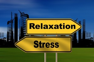 road sign pointing right to relaxation and left to stress