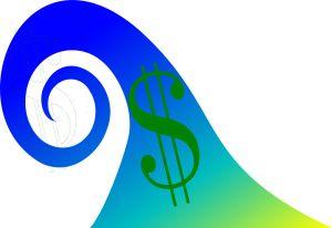 tsunami wave with a dollar sign