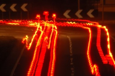 a stream of brake lights ahead